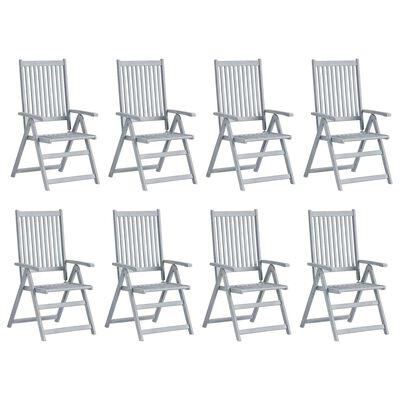 vidaXL Verstellbare Gartenstühle mit Auflagen 8 Stk. Grau Akazienholz