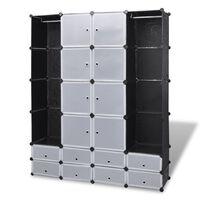 vidaXL Modularer Schrank mit 18 Fächern schwarz/weiß 37x146x180,5cm