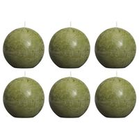 Bolsius Rustikale Kugelkerzen 6 Stk. 80 mm Olivgrün