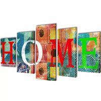 "Bilder Dekoration Set ""Home"" mehrfarbig 100 x 50 cm"