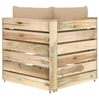vidaXL Modulares Ecksofa mit Kissen Grün Imprägniertes Holz