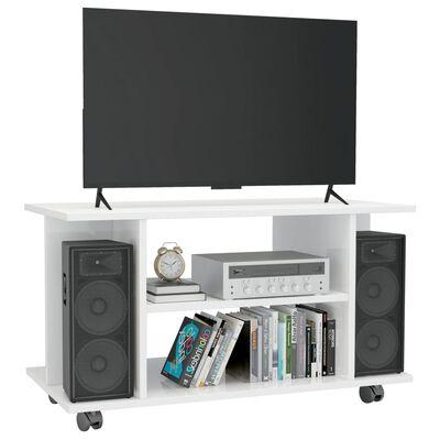 vidaXL TV-Schrank mit Rollen Hochglanz-Weiß 80×40×40 cm Spanplatte