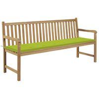 vidaXL Gartenbank mit Hellgrüner Auflage 175 cm Massivholz Teak