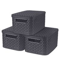 """Curver """"Style"""" Storage Boxes with Lid 3 pcs Size S 6L Anthracite"""