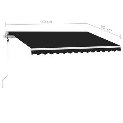 vidaXL Standmarkise Automatisch 350x250 cm Anthrazit