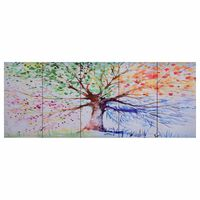 vidaXL Leinwandbild-Set Baum Mehrfarbig 200 x 80 cm