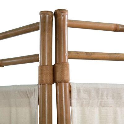 vidaXL 4-teiliger Faltbarer Raumteiler Bambus und Leinwand 160 cm