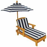 KidKraft Kinderliegestuhl mit Sonnenschirm Marineblau Holz 00105