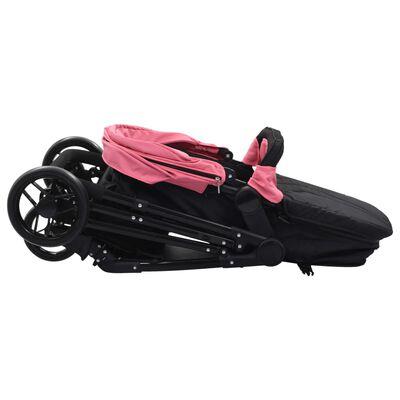 vidaXL 2-in-1 Buggy/Kinderwagen Rosa und Schwarz Stahl