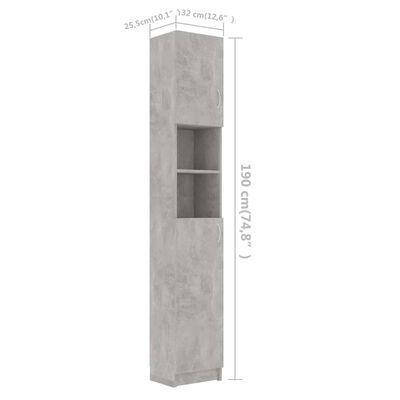 vidaXL Badezimmerschrank Betongrau 32×25,5×190 cm Spanplatte