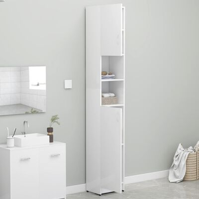 vidaXL Badezimmerschrank Hochglanz-Weiß 32×25,5×190 cm Spanplatte