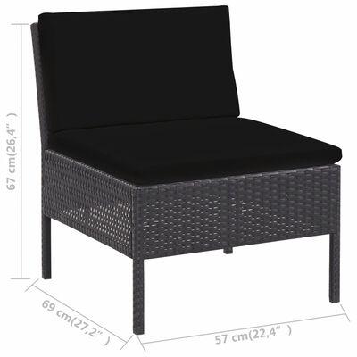 vidaXL 5-tlg. Garten-Sofagarnitur mit Auflagen Poly Rattan Schwarz