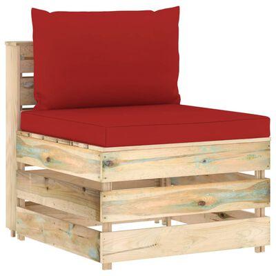 vidaXL 8-tlg. Garten-Lounge-Set mit Kissen Grün Imprägniertes Holz