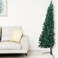 vidaXL Künstlicher Halber Weihnachtsbaum mit Ständer Grün 210 cm PVC
