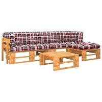 vidaXL 4-tlg. Paletten-Lounge-Set Honigbraun Kiefernholz Imprägniert