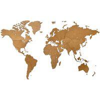 MiMi Innovations Weltkarte-Wanddeko aus Holz Luxury Braun 130×78 cm