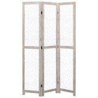 vidaXL 3-teiliger Raumteiler Weiß 105 x 165 cm Massivholz