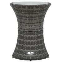 vidaXL Garten-Beistelltisch Trommelform Grau Poly Rattan