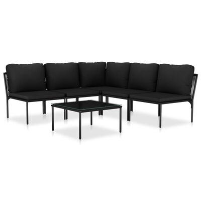 vidaXL 6-tlg. Garten-Lounge-Set mit Auflagen Schwarz PVC