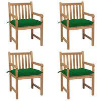 vidaXL Gartenstühle 4 Stk. mit Grünen Kissen Massivholz Teak