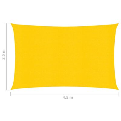 vidaXL Sonnensegel 160 g/m² Gelb 2,5x4,5 m HDPE