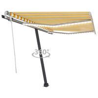 vidaXL Gelenkarmmarkise Einziehbar mit LED 350x250 cm Gelb und Weiß
