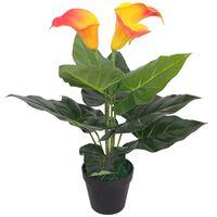 vidaXL Künstliche Calla-Lilie mit Topf 45 cm Rot und Gelb
