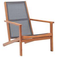 vidaXL Garten-Loungestuhl Grau Eukalyptus Massivholz und Textilene
