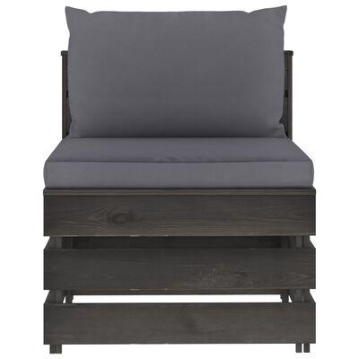 vidaXL 6-tlg. Garten-Lounge-Set mit Kissen Grau Imprägniertes Holz