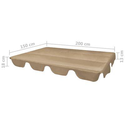 vidaXL Ersatzdach für Gartenschaukel Taupe 226x186 cm