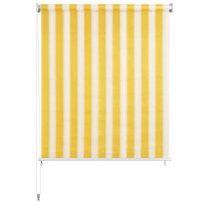 vidaXL Außenrollo 220 x 140 cm Gelb und Weiß Gestreift