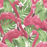 Noordwand Tapete Flamingo and Monstera Rosa
