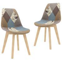 vidaXL Esszimmerstühle 2 Stk. Patchwork-Design Grau Stoff