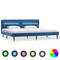vidaXL Bettgestell mit LED Blau Stoff 160 x 200 cm