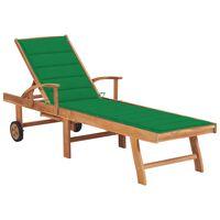 vidaXL Sonnenliege mit Auflage Grün Massivholz Teak