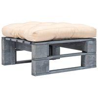 vidaXL Garten-Palettenhocker mit Sandfarbigem Kissen Holz Grau