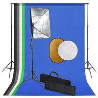 vidaXL Fotostudio-Set mit Softbox-Lampen, Hintergrund und Reflektor