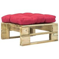 vidaXL Garten-Palettenhocker mit Rotem Kissen Holz Grün