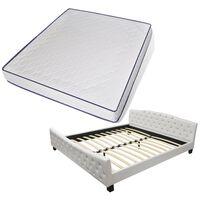vidaXL Bett mit Memory-Schaum-Matratze Weiß Kunstleder 180×200 cm