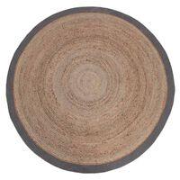 LABEL51 Teppich Jute Rund 150 cm Grau
