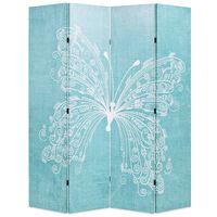 vidaXL Raumteiler klappbar 160 x 170 cm Schmetterling Blau