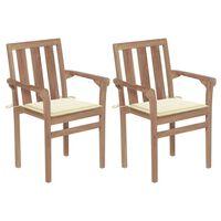 vidaXL Gartenstühle 2 Stk. mit Cremeweißen Kissen Teak Massivholz