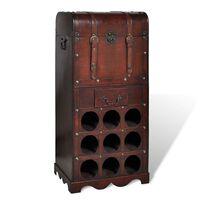 vidaXL Holz-Flaschenregal für 9 Flaschen mit Aufbewahrungstruhe
