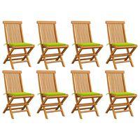 vidaXL Gartenstühle mit Hellgrünen Kissen 8 Stk. Massivholz Teak