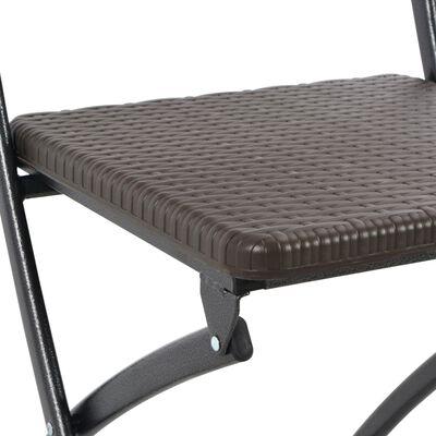 vidaXL Klappbare Gartenstühle 2 Stk. HDPE und Stahl Braun