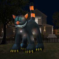 vidaXL Halloween Aufblasbare Schwarze Katze mit LED XXL 6 m