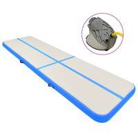 vidaXL Aufblasbare Gymnastikmatte mit Pumpe 600x100x15 cm PVC Blau