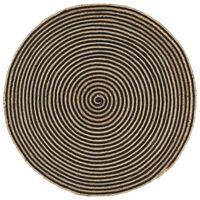 vidaXL Teppich Handgefertigt Jute mit Spiralen-Design Schwarz 120 cm