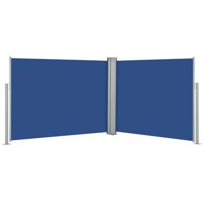 vidaXL Ausziehbare Seitenmarkise Blau 140 x 1000 cm
