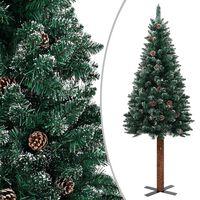 vidaXL Schlanker Weihnachtsbaum mit Echtholz und Schnee Grün 210 cm